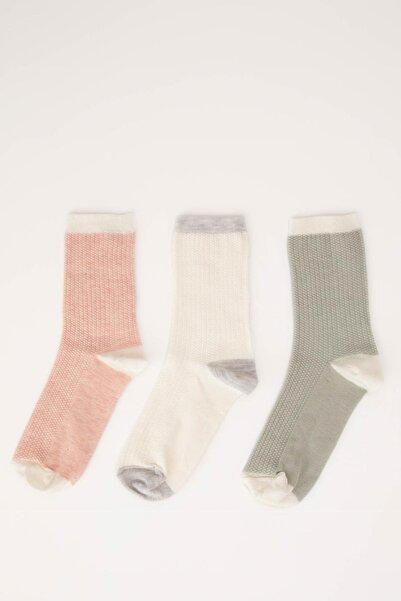 DeFacto Kadın Renkli Soket Çorap 3'lü