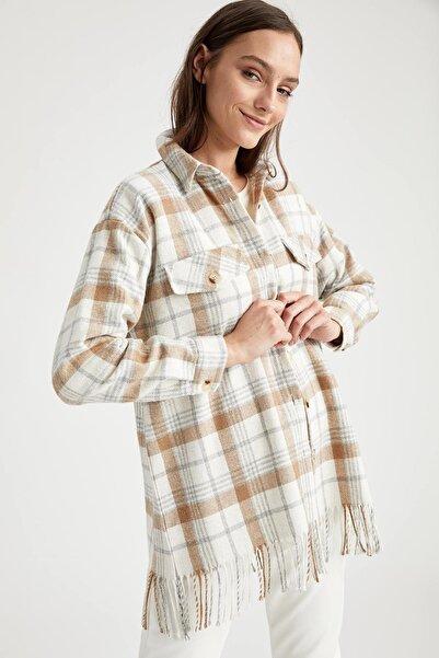 DeFacto Kadın Bej Retro Püskül Detaylı Ekose Ceket Gömlek