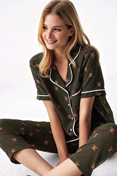 Trend Alaçatı Stili Kadın Haki Gömlek Yaka Desenli Saten Pijama Takım