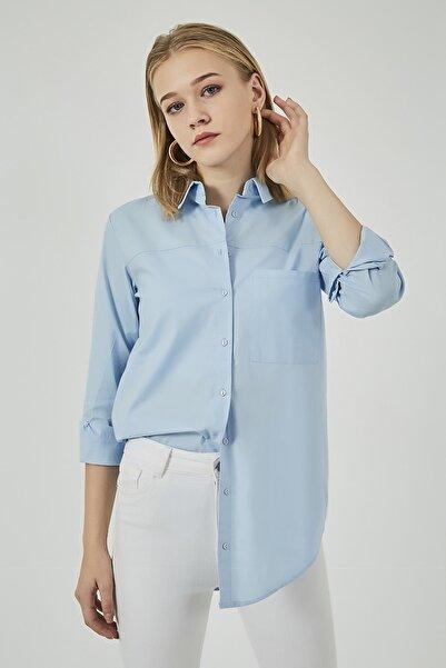 Sateen Kadın Mavi Cep Detaylı Uzun Gömlek