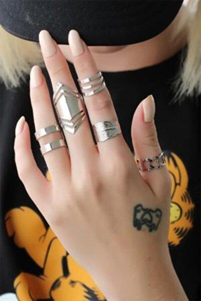 NEWOTO Gümüş Renkli Metal 5li Yüzük Seti