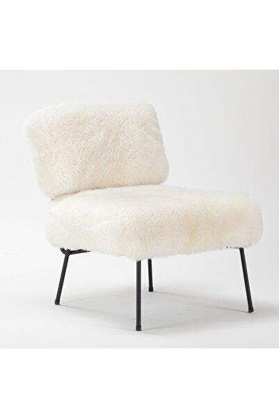 Estetik Decor Beyaz Tüylü Deri Siyah Boyalı Ayaklı Sandalye Chev H75 W60 D73 Cosy Kuzu Beyaz Me Tal