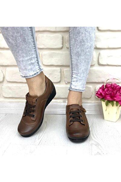 FOTİN Kadın Kahverengi Hakiki Deri Ortopedik Günlük Ayakkabı
