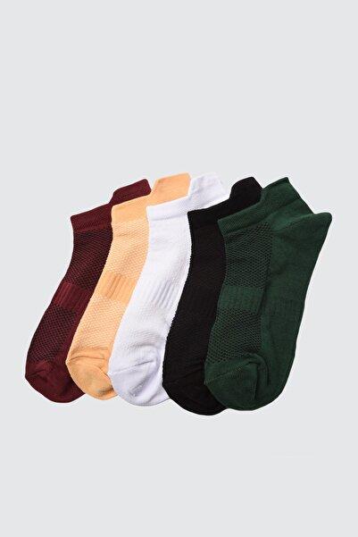 TRENDYOLMİLLA Bordo 5'li Paket Spor Çorap TWOAW20CO0011