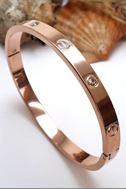 Bin1Gecem Takı Kadın Metalik Zirkon Taşlı Paslanmaz Çelik Cartier Bilezik 18 Cm