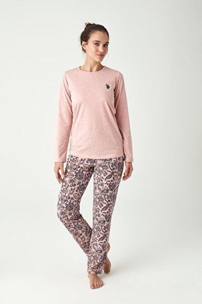U.S. Polo Assn. Kadın Pembe Melanj Pijama Takımı