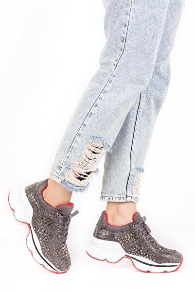 Gondol Parlak Taşlı Spor Ayakkabı Tyr.99102 - Gri - 40