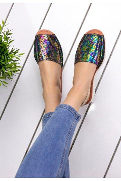 Erbilden Kadın Mor Samiye Cilt Desenli Sandalet
