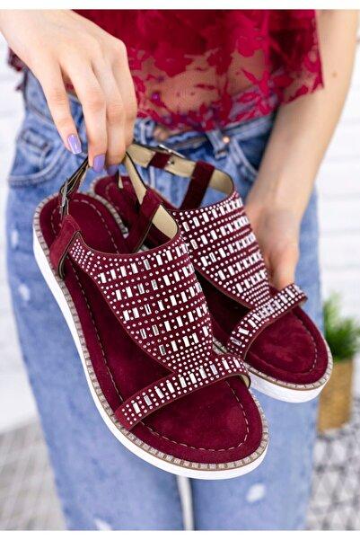 Erbilden Kadın Bordo Antvan Süet Taşlı Sandalet