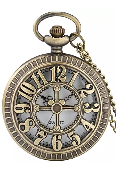 WINNER Özel Retro Bronz Renk Rakam Işlemeli Tasarım Köstekli Cep Saati