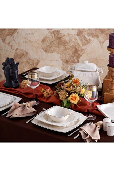 Karaca Batik Cream 60 Parça 12 Kişilik Yemek Takımı Gold Kare