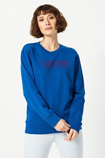 Kadın Mavi Logo Baskılı Sweatshirt 19492-0071