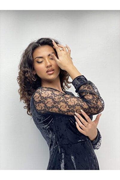 Gökmen Kotan Kadın Siyah Kolları Tül Dantel Kadife Elbise