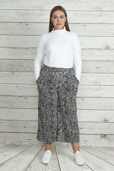 Şans Kadın Siyah Cep Detaylı Viskon Pantolon 65N19949
