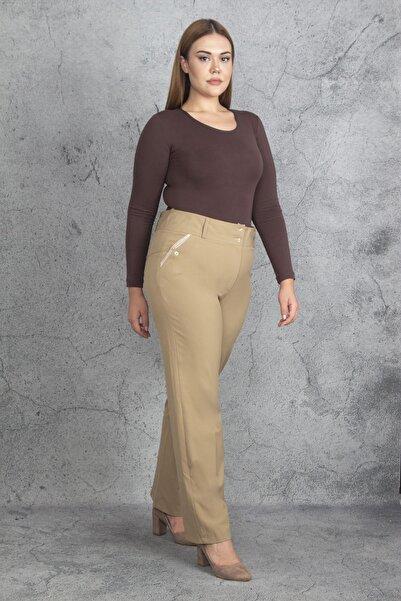 Şans Kadın Bej Süs Cepli Klasik Pantolon 65N19921