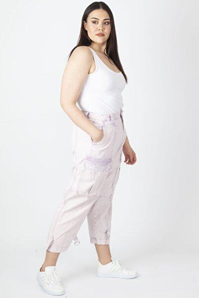 Şans Kadın Pembe Yıkama Efektli Kargo Pantolon 65N19889