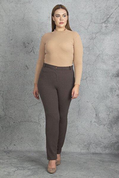 Şans Kadın Kahve Cepsiz Klasik Pantolon 65N19920