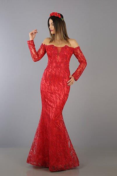 VOLAN Kadın Balık Kına Elbisesi Kırmızı Abiye