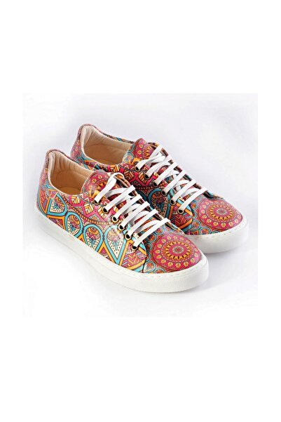 Goby Kadın Kahverengi Özel Tasarım mandala Desenli Sneaker