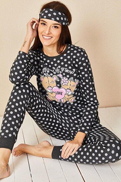 Morpile Kadın Siyah Baskılı Pijama Takım
