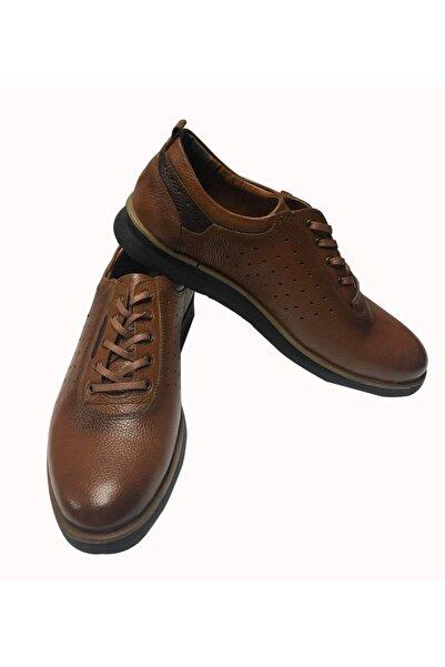 Karaca Erkek Kahverengi Hakiki Deri Ortopedik Taban Spor Ayakkabı