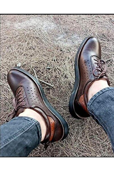 Karaca Erkek Kahverengi Deri Günlük Rahat Şık Nefes Alabilen Ayakkabı