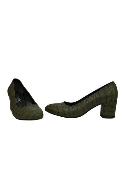 Stiletto Kadın Yeşil Desenli Kısa Topuklu Ayakkabı