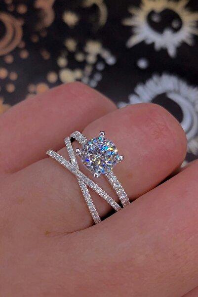 Crystal Diamond Zirconia Labaratuvar Pırlantası 1 Carat Tektaş Ve Tamtur Yüzük