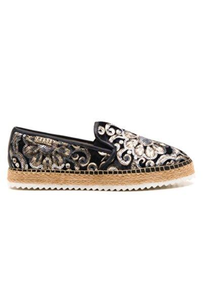 Ferre Kadın Siyah Deri Nakış Işlemeli Casual Ayakkabı