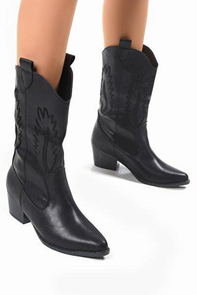 Sapin Kadın Siyah Kovboy Çizme 33611