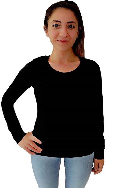 Tshigo Kadın Siyah Basic Likralı Uzun Kollu Tişört