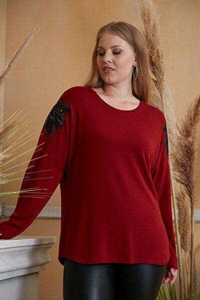 RMG Kadın Bordo Kol Aplike Detaylı Taş Işlemeli Büyük Beden  Bluz