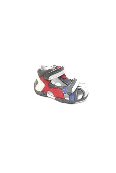 Perlina Unisex Çocuk Gri Hakiki Deri İlk Adım Ayakkabı