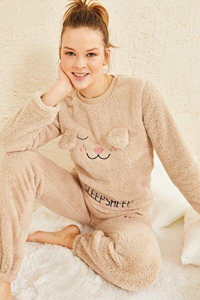 oshebu Kadın Peluş Ikili Pijama Takımı