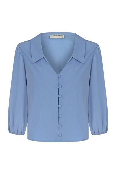 Mudo Kadın Mavi Regular Kesim Düğme Detaylı Gömlek 1217055