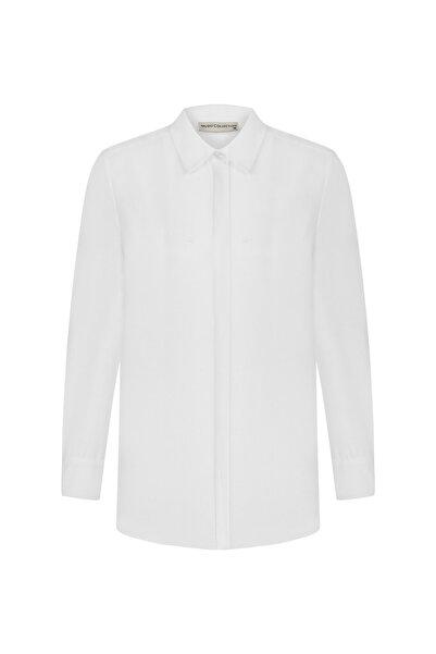 Mudo Kadın Beyaz Regular Kesim Pamuklu Gömlek