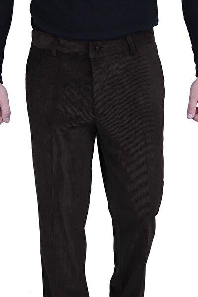 Canelia Erkek Koyu Kahve Renk Kadife Yan Cep Klasik Kesim Pantolon