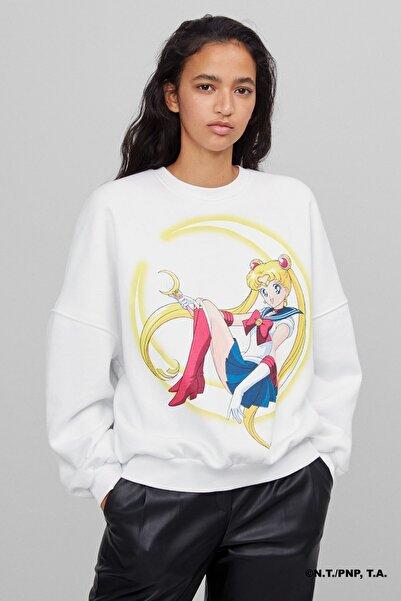 Bershka Sailor Moon Baskılı Sweatshirt