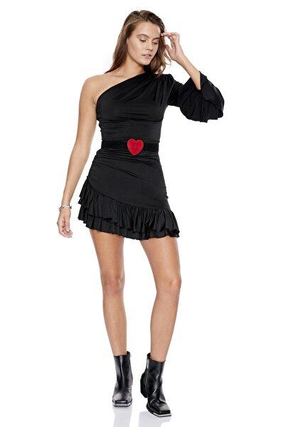 Keikei Kadın Siyah Örme Tek Kol Kısa Elbise