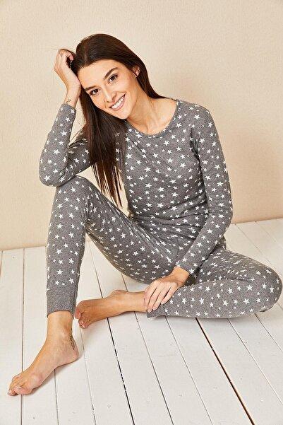 Morpile Kadın Füme Yıldız Baskılı Pijama Takım
