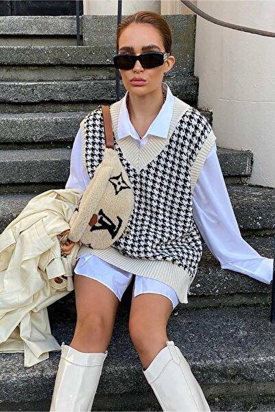 Madmext Mad Girls Beyaz Desenli Kadın Süveter Mg822