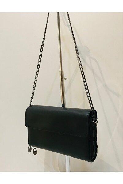Mima Zincirli Kadın Siyah Cüzdan Çanta