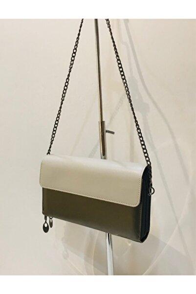 Mima Zincirli Kadın Gümüş Bej Cüzdan Çanta
