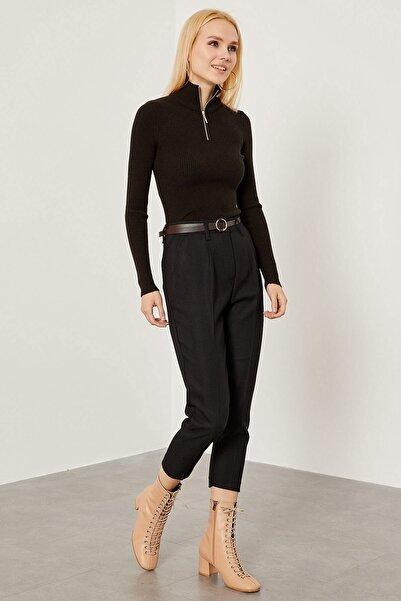 Arma Life Kadın Siyah Deri Kemerli Kumaş Pantolon