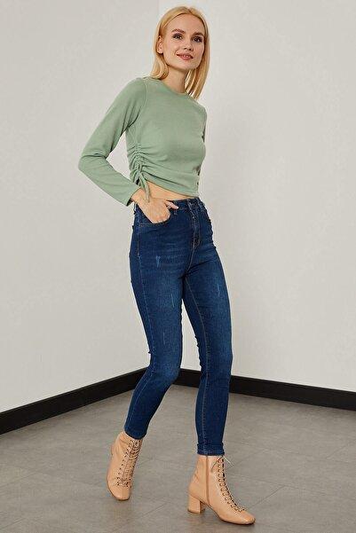 Arma Life Kadın Koyu Mavi Düz Yıkama Pantolon