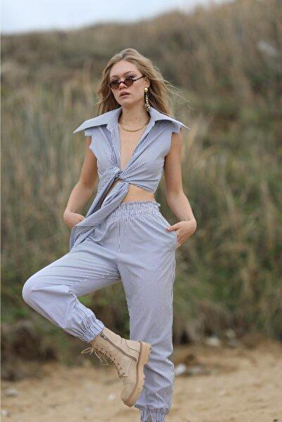 Eclectic Kadın Mavi Çizgili Pantolon