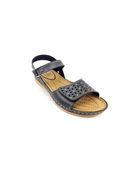 GEZER Kadın Siyah Yazlık Siyah Ortapedi Cırtlı Sandalet