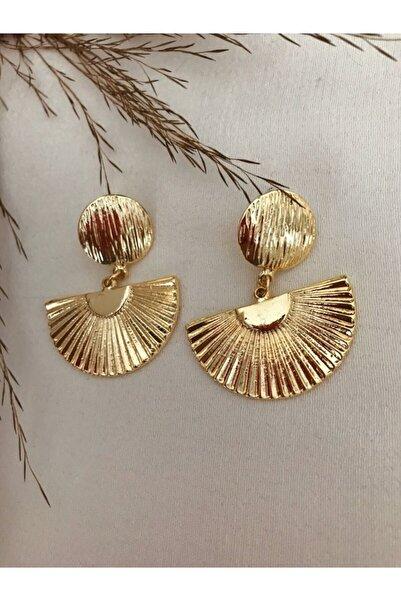 Flamingo Tırtıklı Plaka Gold Küpe