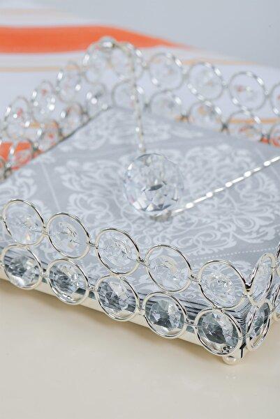 MHK Collection Özel Tasarım Taş Dizme Sanatı Gümüş Peçetelik