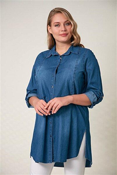 RMG Yırtmaç Detaylı Büyük Beden Kim Mavi Kot Gömlek
